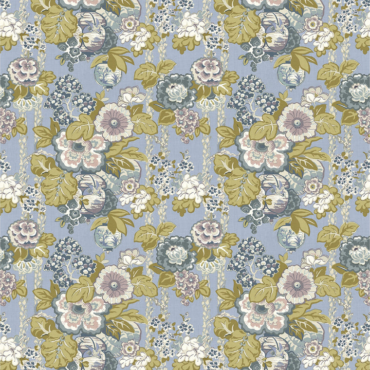 Fabric swatch of a lively, large scale floral fabric with lilac tones for curtains and upholstery