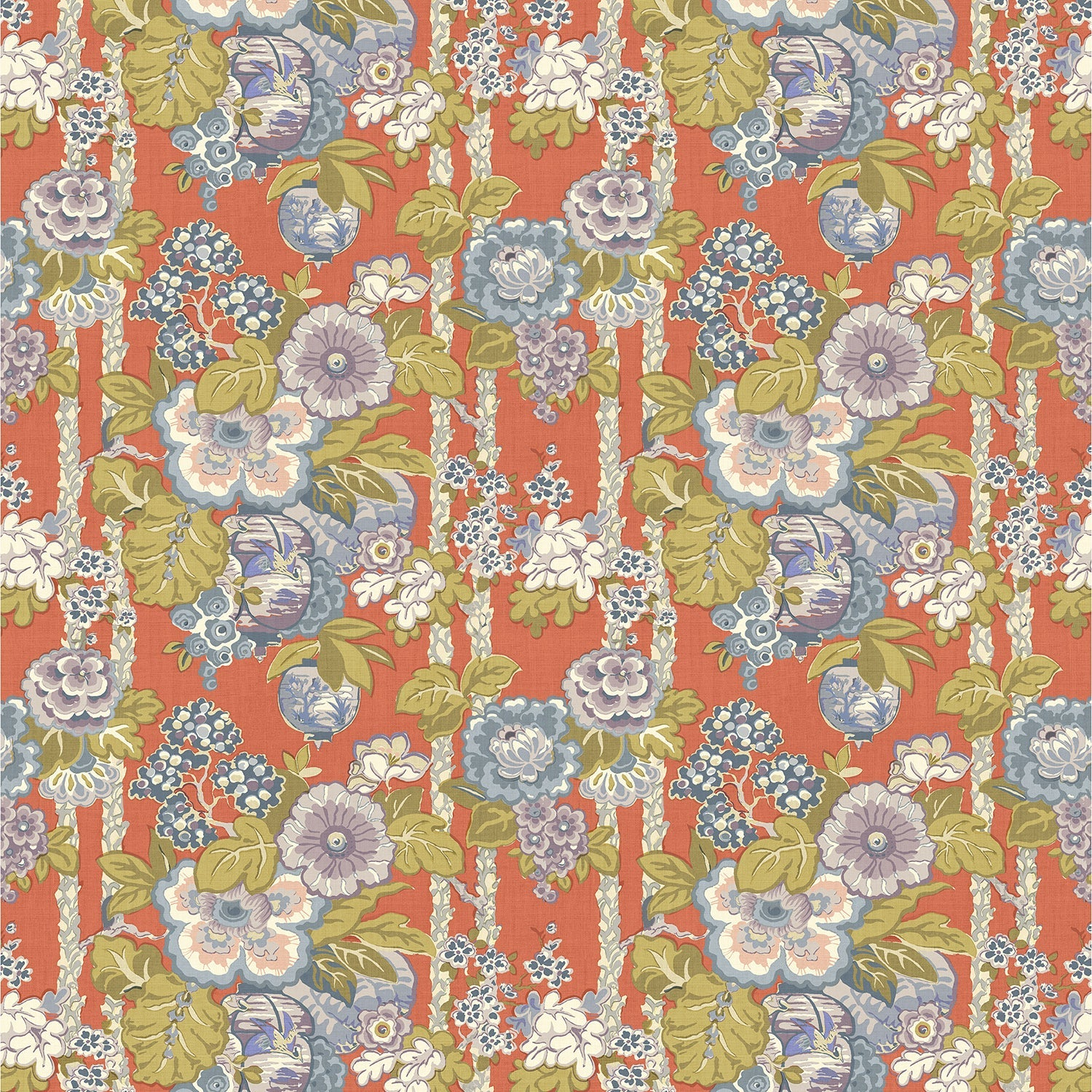 Fabric swatch of a lively, large scale floral fabric for curtains and upholstery with orange and lilac tones