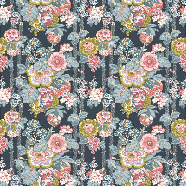Fabric swatch of a lively, large scale floral fabric for curtains and upholstery