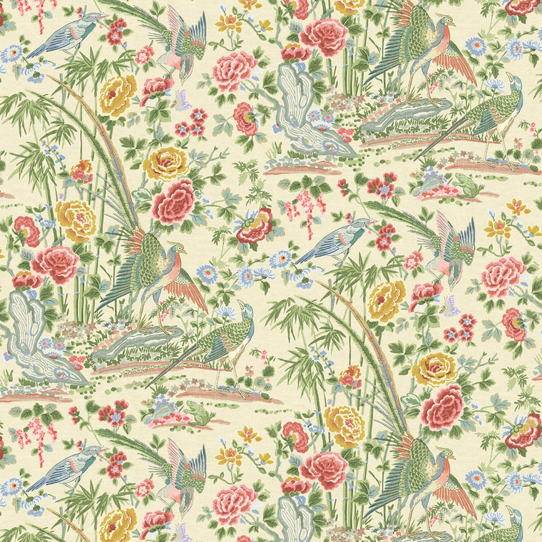 Fabric swatch of a lively, floral and bird fabric for curtains and upholstery