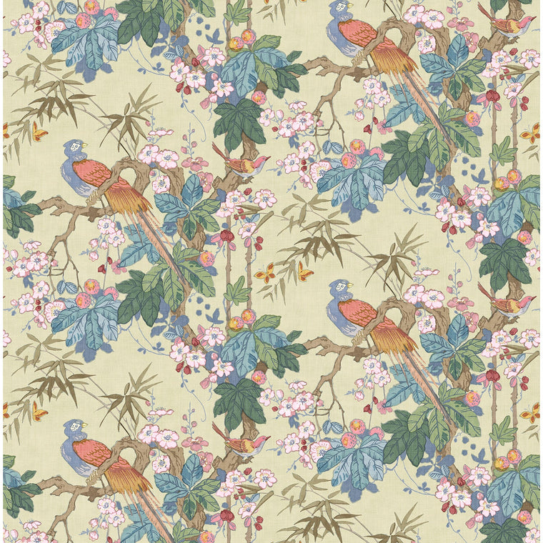 Fabric swatch of a lively, tropical floral and bird fabric for curtains and upholstery