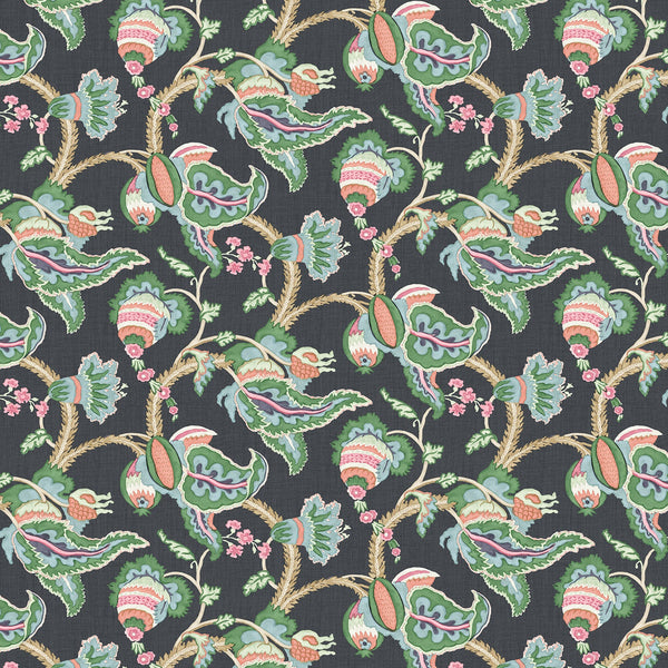 Fabric swatch of a floral vine design linen fabric for curtains and upholstery