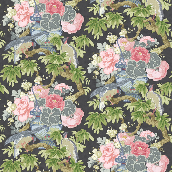 Fabric swatch of a floral and bird linen fabric for curtains and upholstery
