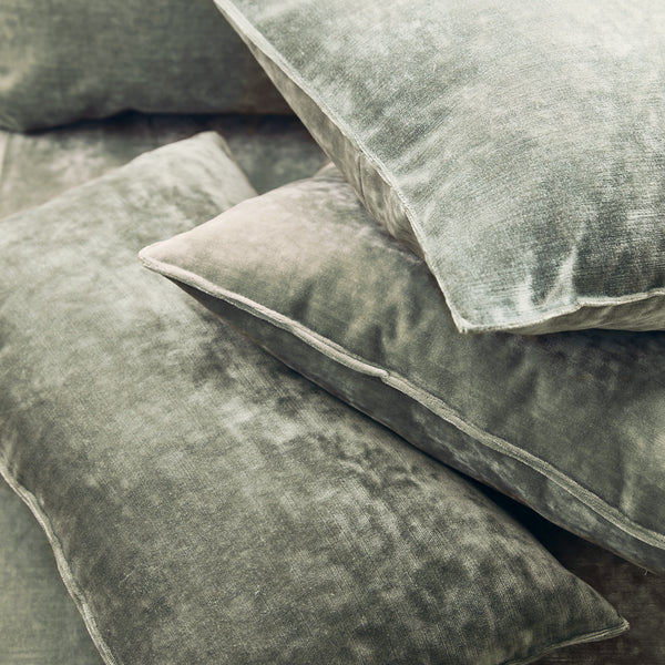 Cushions in a silver grey stain resistant crushed velvet fabric, perfect for grey crushed velvet sofa or curtains