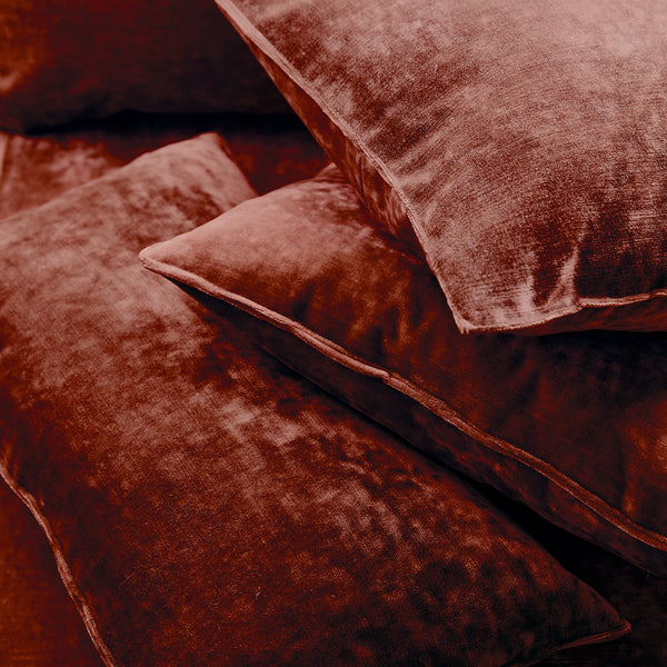 Cushions in a red stain resistant crushed velvet fabric, perfect for red crushed velvet sofas or curtains