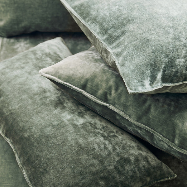 Cushions in a light blue stain resistant crushed velvet fabric, perfect for light blue crushed velvet sofa or curtains