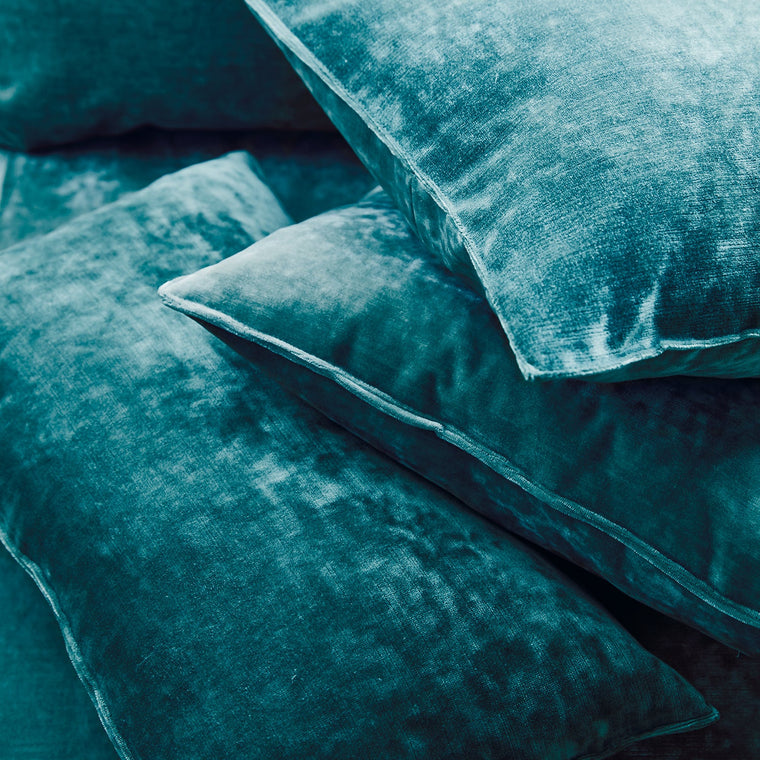 Cushions in a teal stain resistant crushed velvet fabric, perfect for teal crushed velvet sofa and curtains