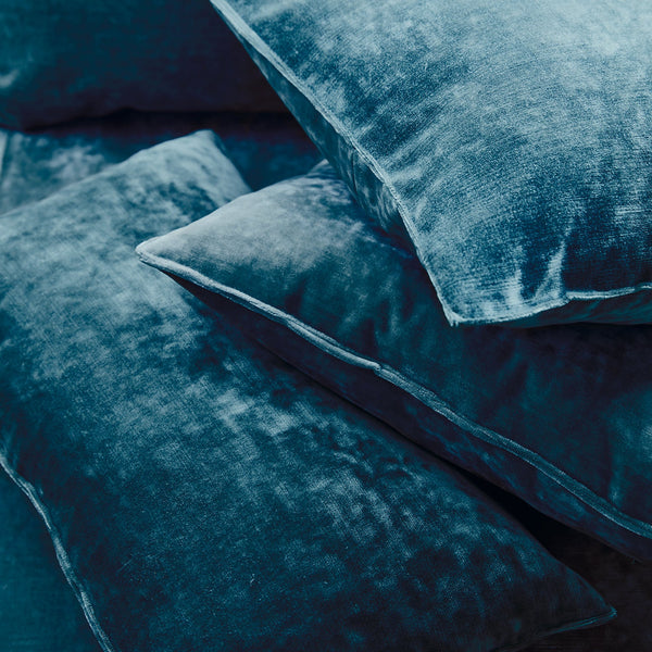 Cushions in a blue stain resistant crushed velvet fabric, perfect for blue crushed velvet sofa or curtains