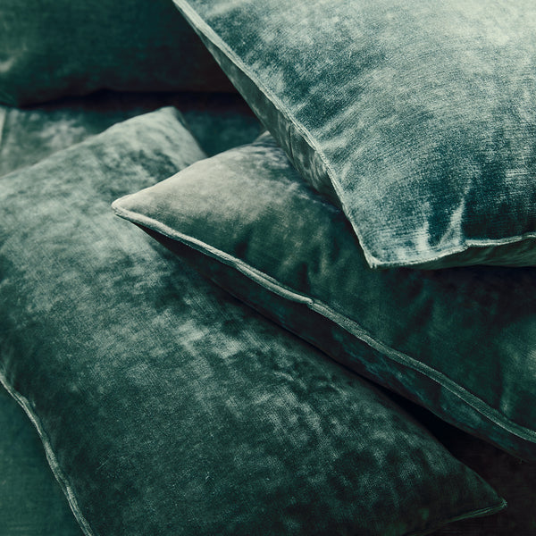 Cushions in a aqua coloured stain resistant crushed velvet fabric, perfect for teal crushed velvet sofa or curtains