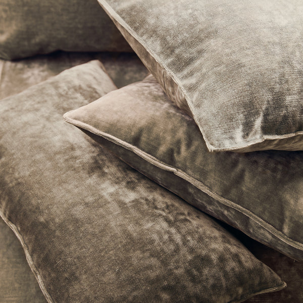 Cushions in a taupe coloured stain resistant crushed velvet fabric, perfect for brown crushed velvet sofa or curtains