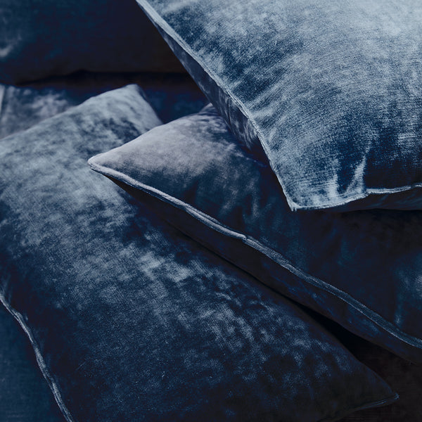 Cushions in a dark blue stain resistant crushed velvet fabric, perfect for blue crushed velvet sofa or curtains