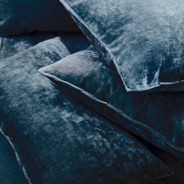 Cushions in a indigo blue stain resistant crushed velvet fabric, perfect for blue crushed velvet sofa or curtains
