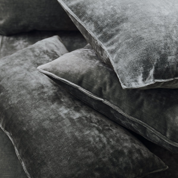 Cushions in a grey stain resistant crushed velvet fabric, perfect for grey crushed velvet sofa or curtains