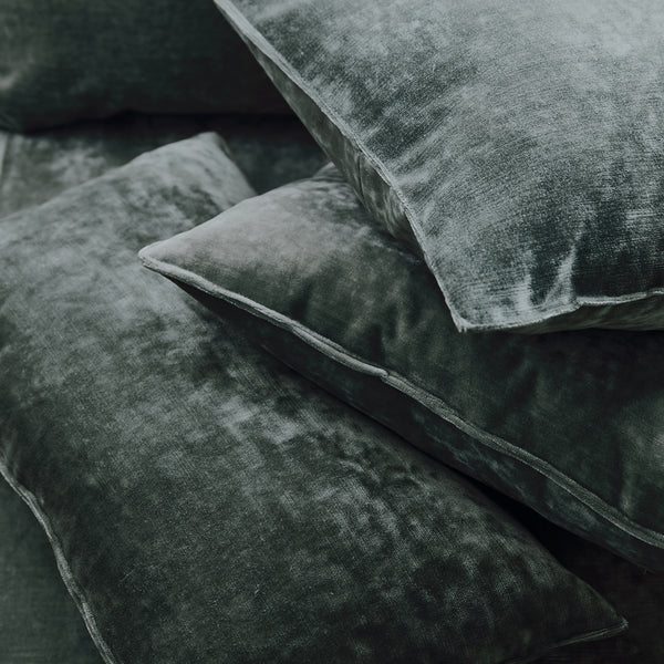 Cushions in a dark grey stain resistant crushed velvet fabric, perfect for grey crushed velvet sofa or curtains