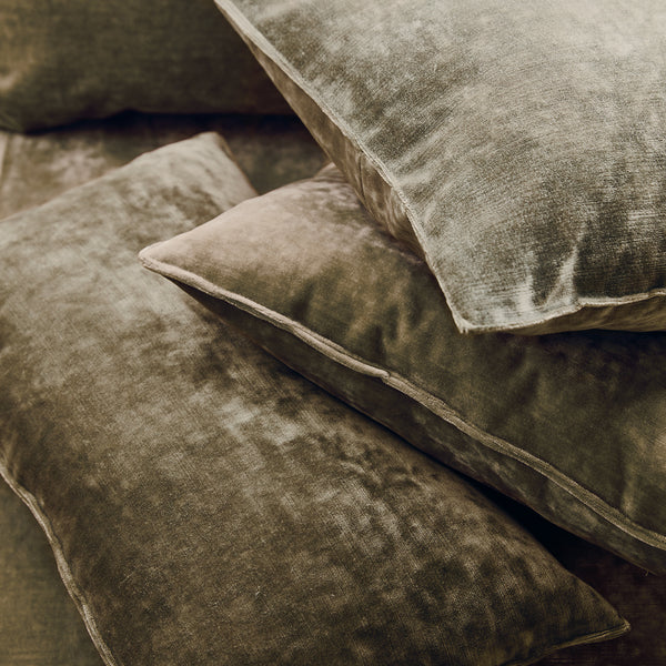 Cushions in a brown stain resistant crushed velvet fabric, perfect for brown crushed velvet sofa or curtains