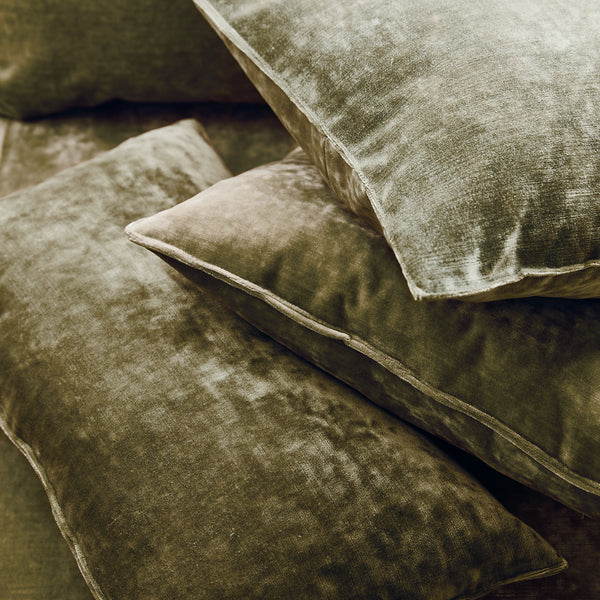 Cushions in a khaki stain resistant crushed velvet fabric, perfect for khaki velvet sofa or curtains