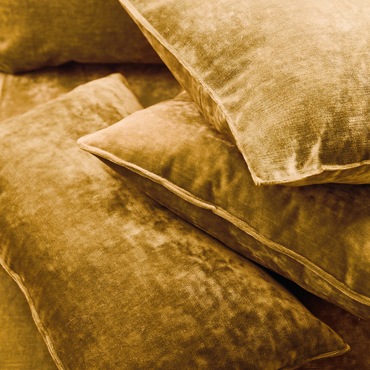 Cushions in a yellow stain resistant crushed velvet fabric, perfect for yellow crushed velvet sofa and curtains