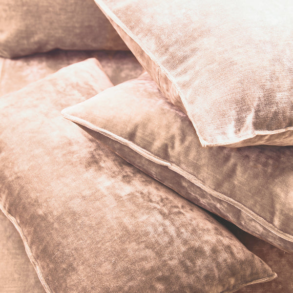 Cushions in a blush pink stain resistant crushed velvet fabric, perfect for pink crushed velvet sofa or curtains