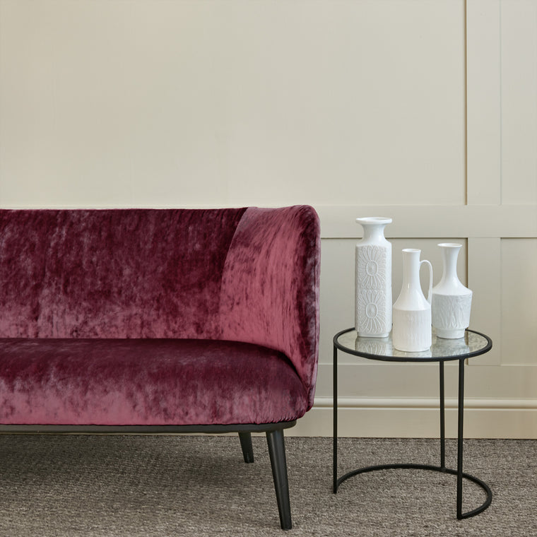 Sofa in a berry coloured stain resistant crushed velvet fabric, perfect for berry crushed velvet sofa or curtains