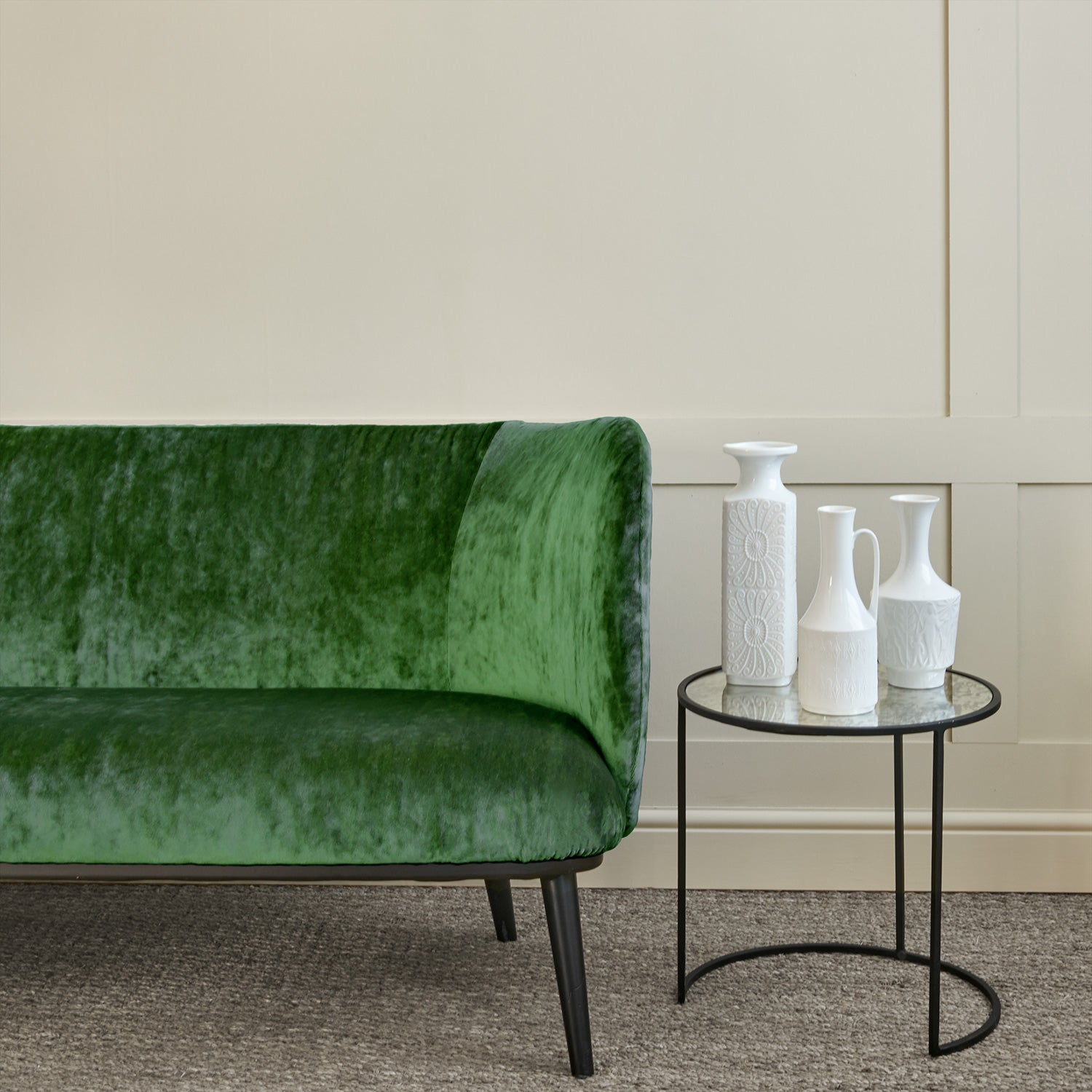 Sofa in a green stain resistant crushed velvet fabric, perfect for green crushed velvet sofa or curtains