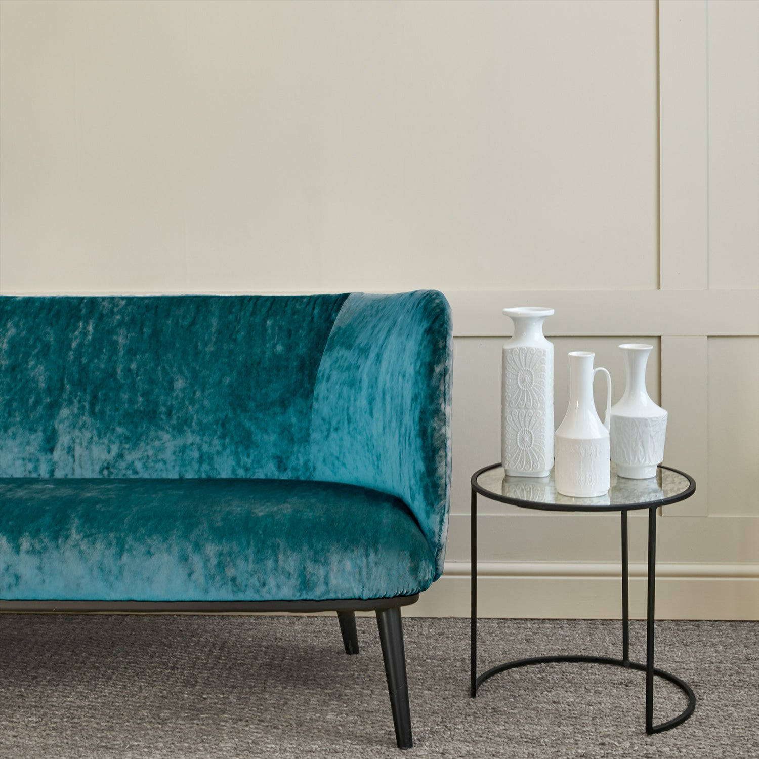 Sofa in a teal stain resistant crushed velvet fabric, perfect for teal crushed velvet sofa and curtains
