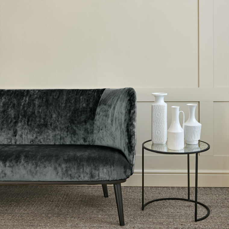 Sofa in a dark grey stain resistant crushed velvet fabric, perfect for grey crushed velvet sofa or curtains