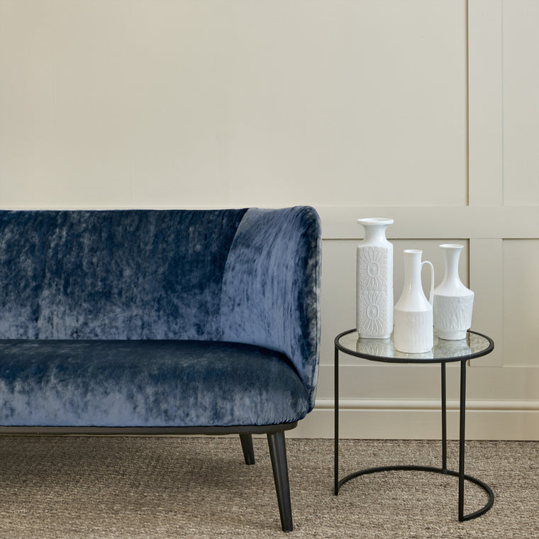 Sofa in a dark blue stain resistant crushed velvet fabric, perfect for blue crushed velvet sofa or curtains