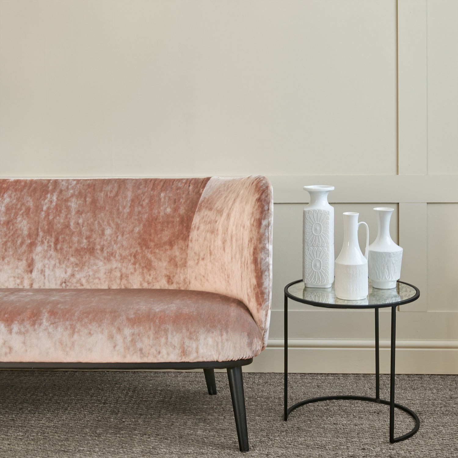 Sofa in a blush pink stain resistant crushed velvet fabric, perfect for pink crushed velvet sofa or curtains