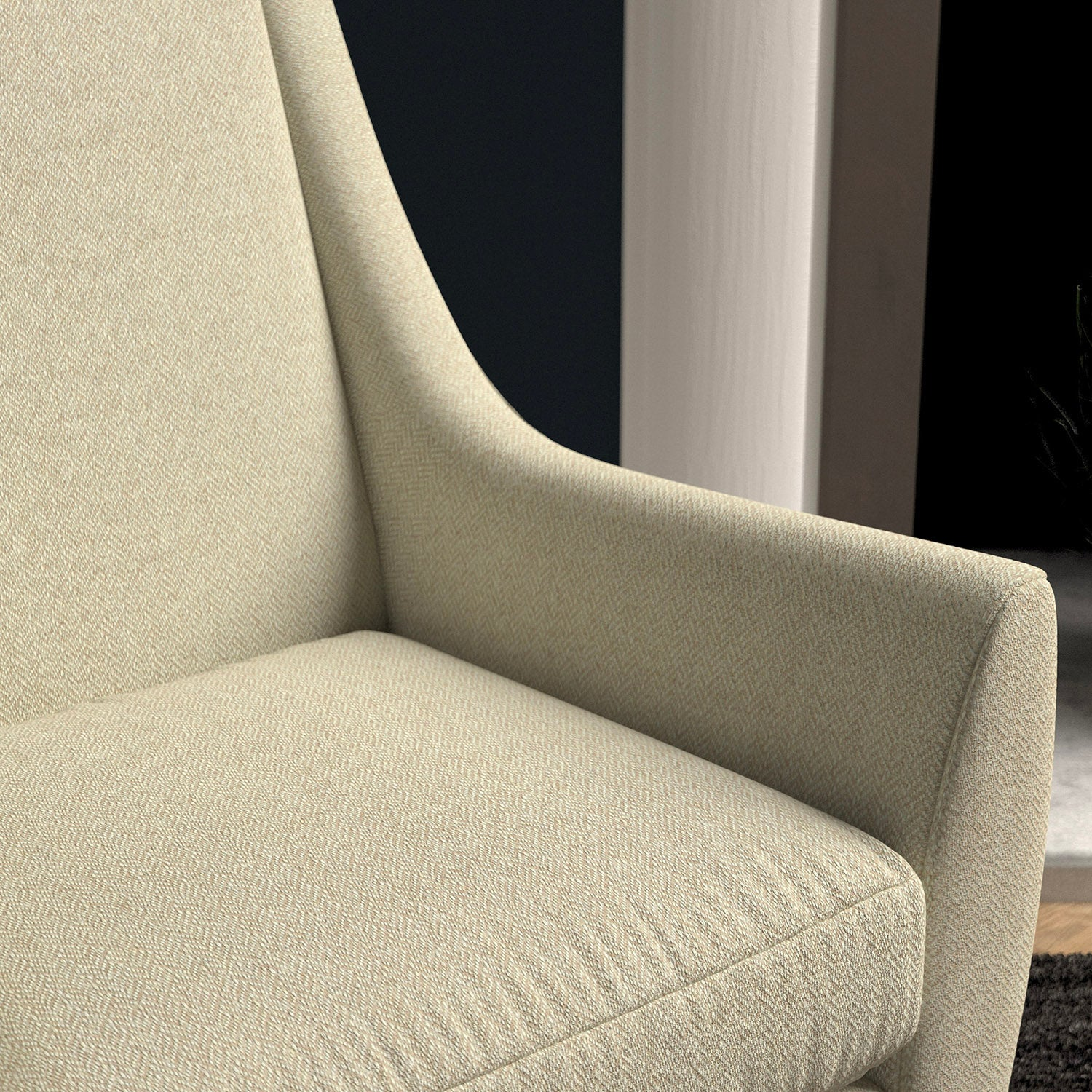 Chair upholstered in a cream herringbone wool weave upholstery fabric