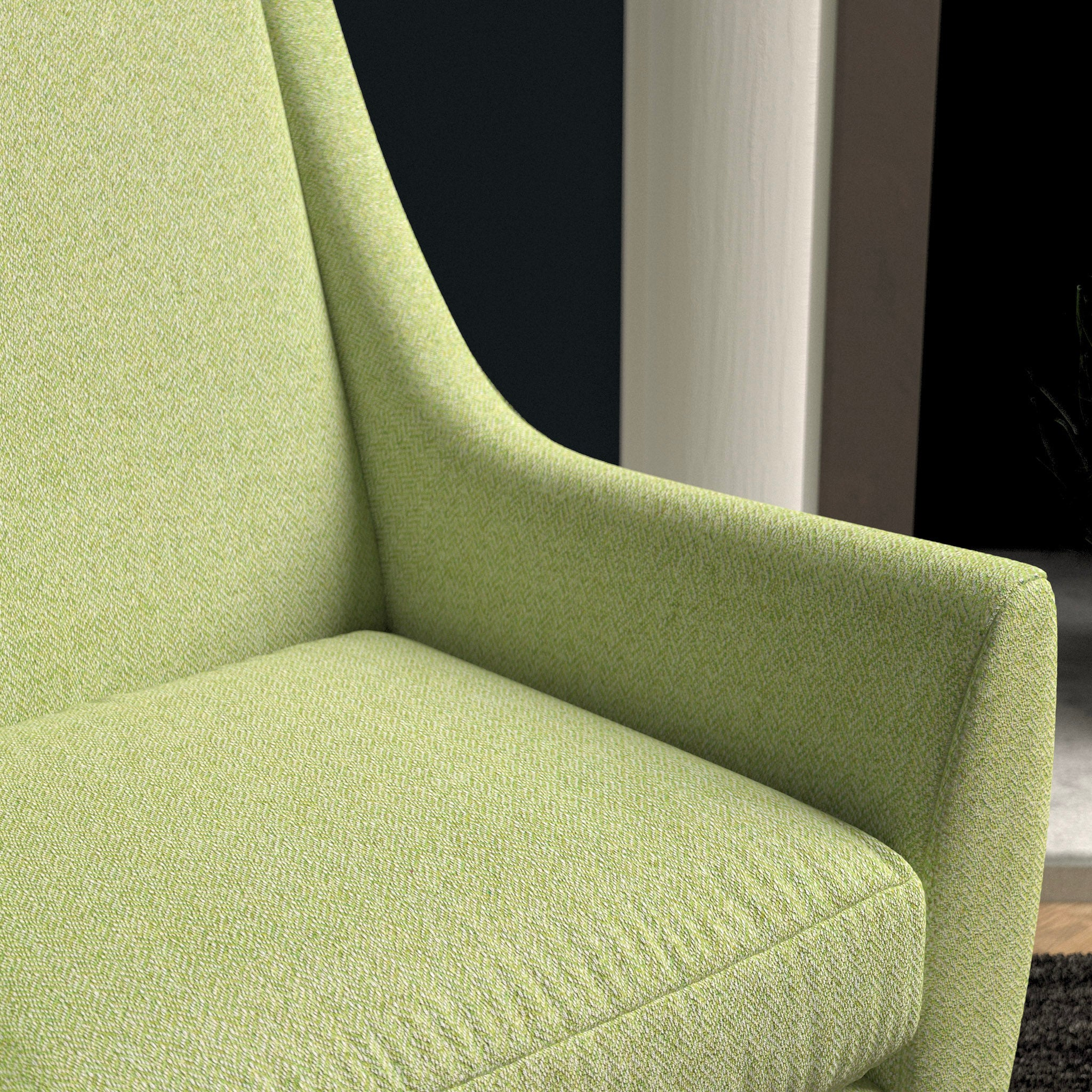 Chair in a lime green herringbone wool upholstery fabric