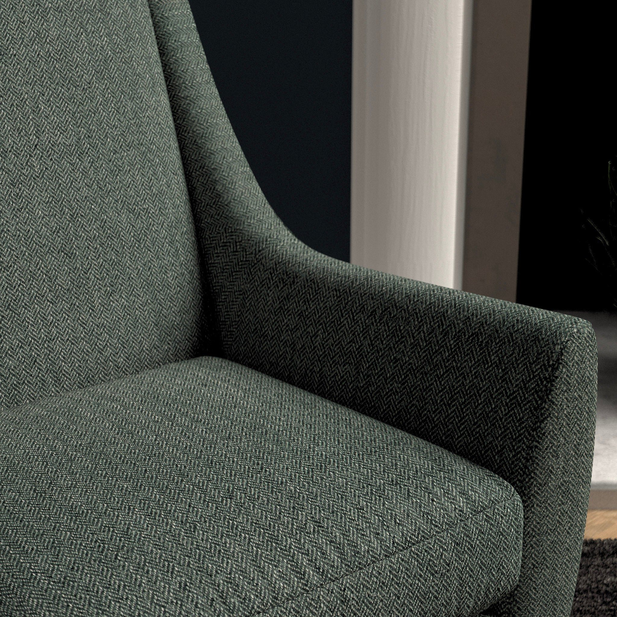 Chair upholstered in a dark blue herringbone wool weave upholstery fabric