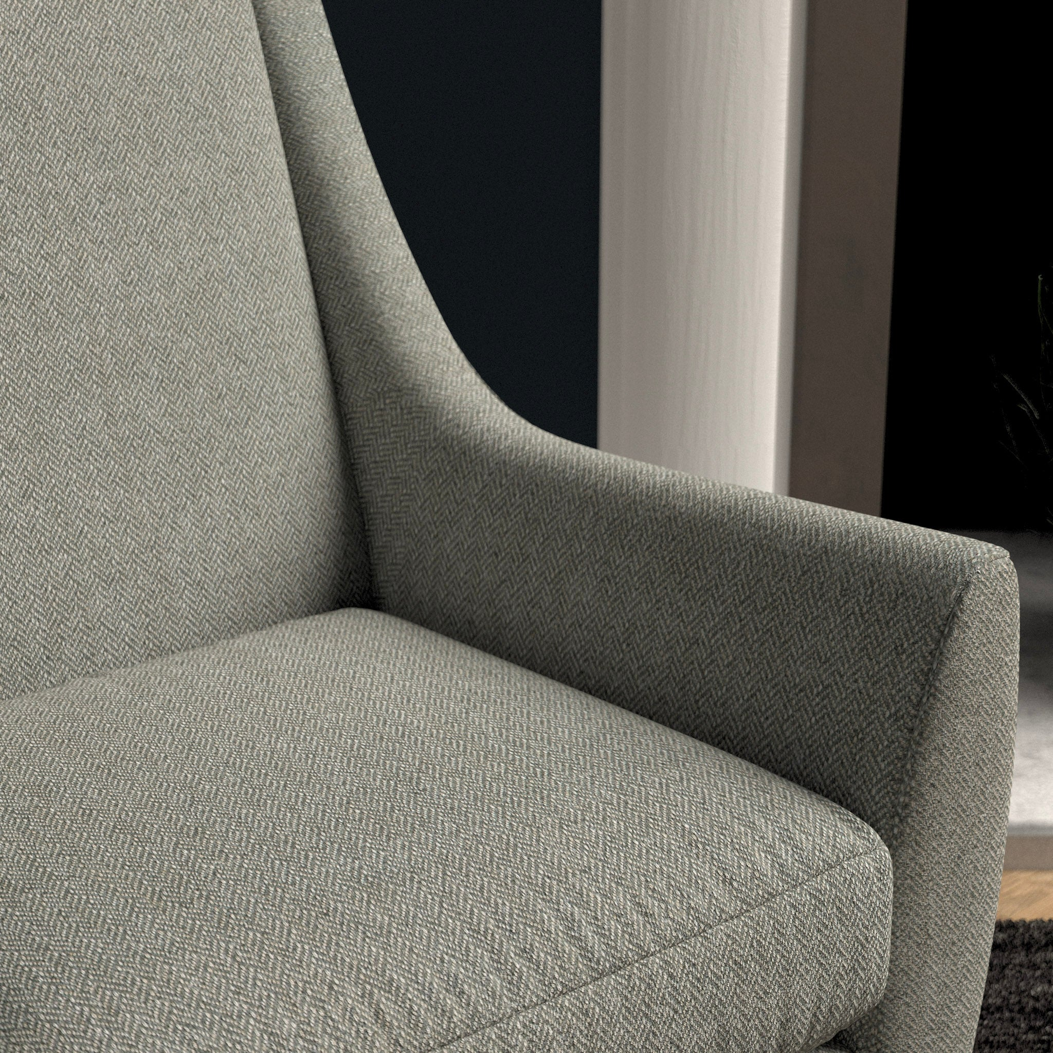 Chair in a dark grey herringbone wool upholstery fabric