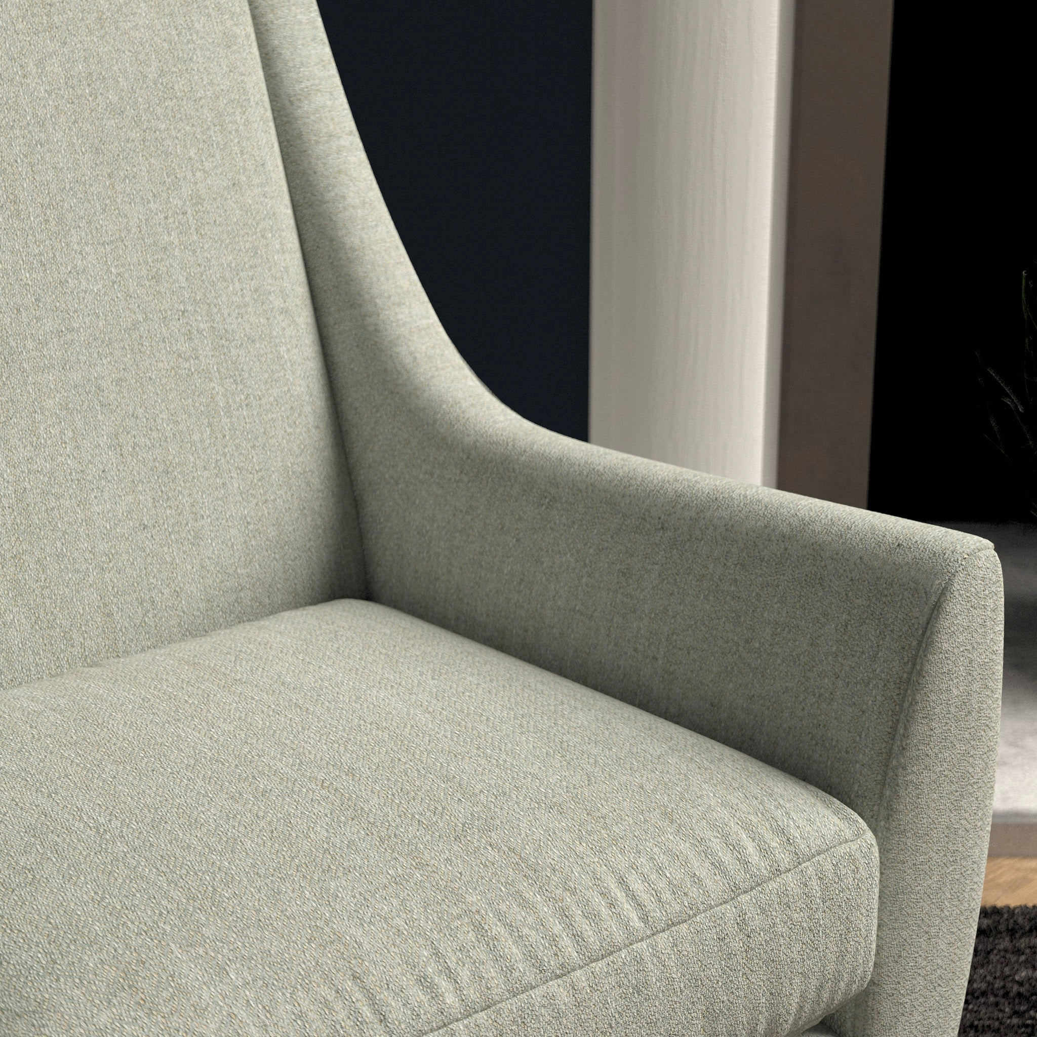 Chair in a light grey herringbone wool upholstery fabric