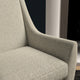 Chair upholstered in a light grey herringbone wool weave upholstery fabric