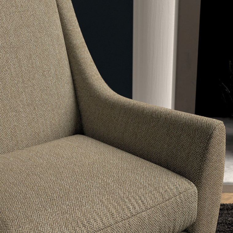 Chair upholstered in a dark neutral herringbone wool weave upholstery fabric