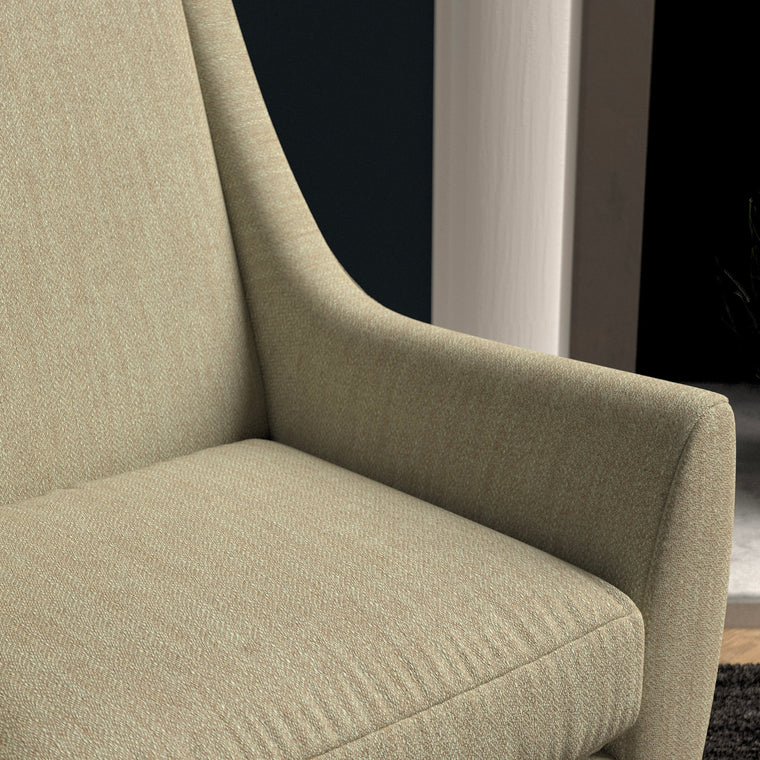 Chair upholstered in a light neutral herringbone wool weave upholstery fabric