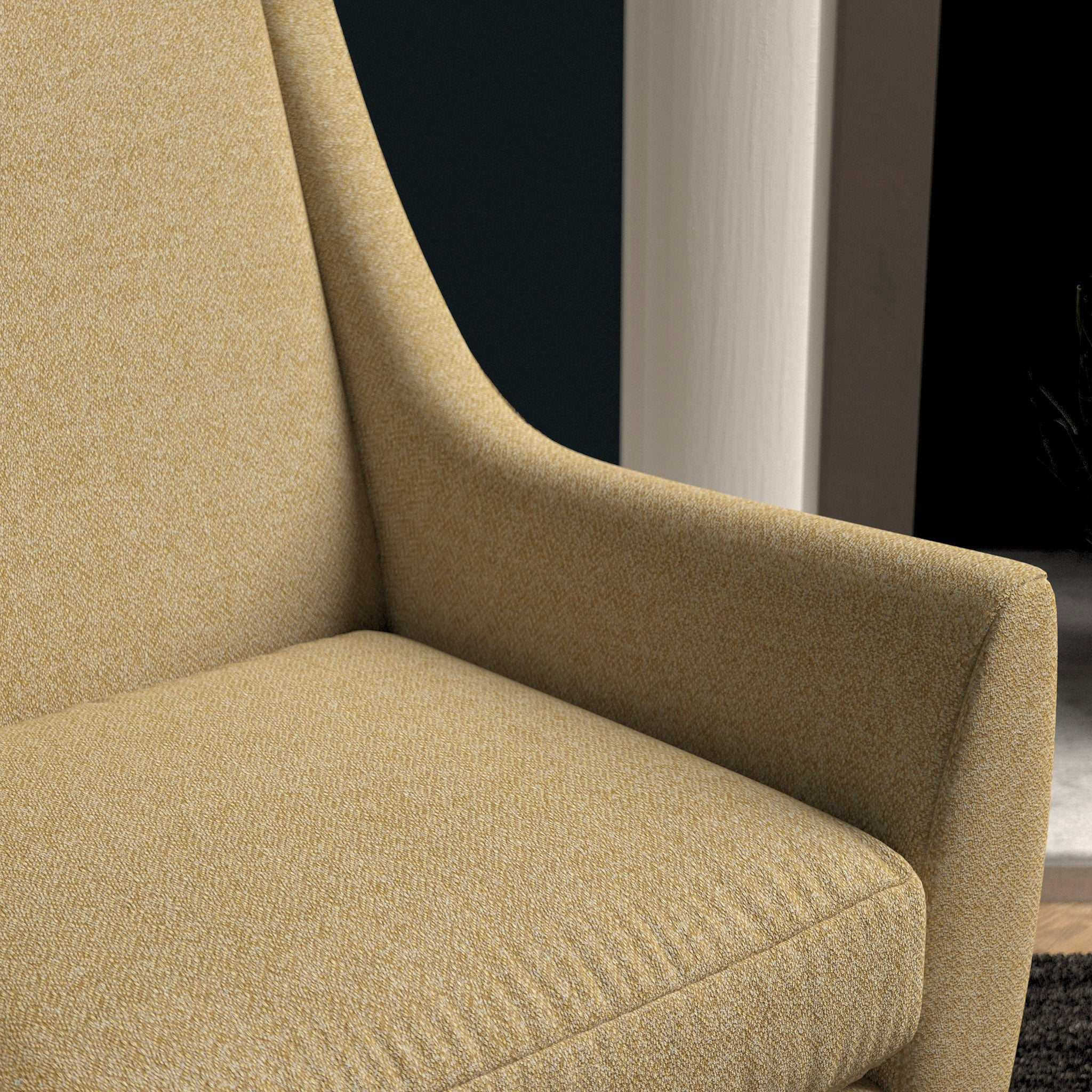 Chair upholstered in a light yellow herringbone wool weave upholstery fabric