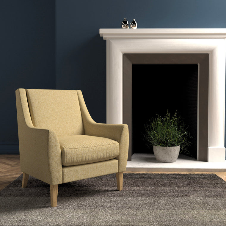 Chair in a light yellow herringbone wool upholstery fabric