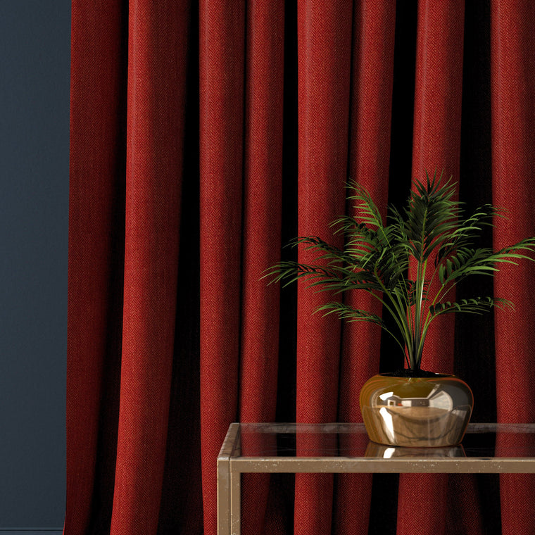 Curtain in a bright red herringbone wool fabric