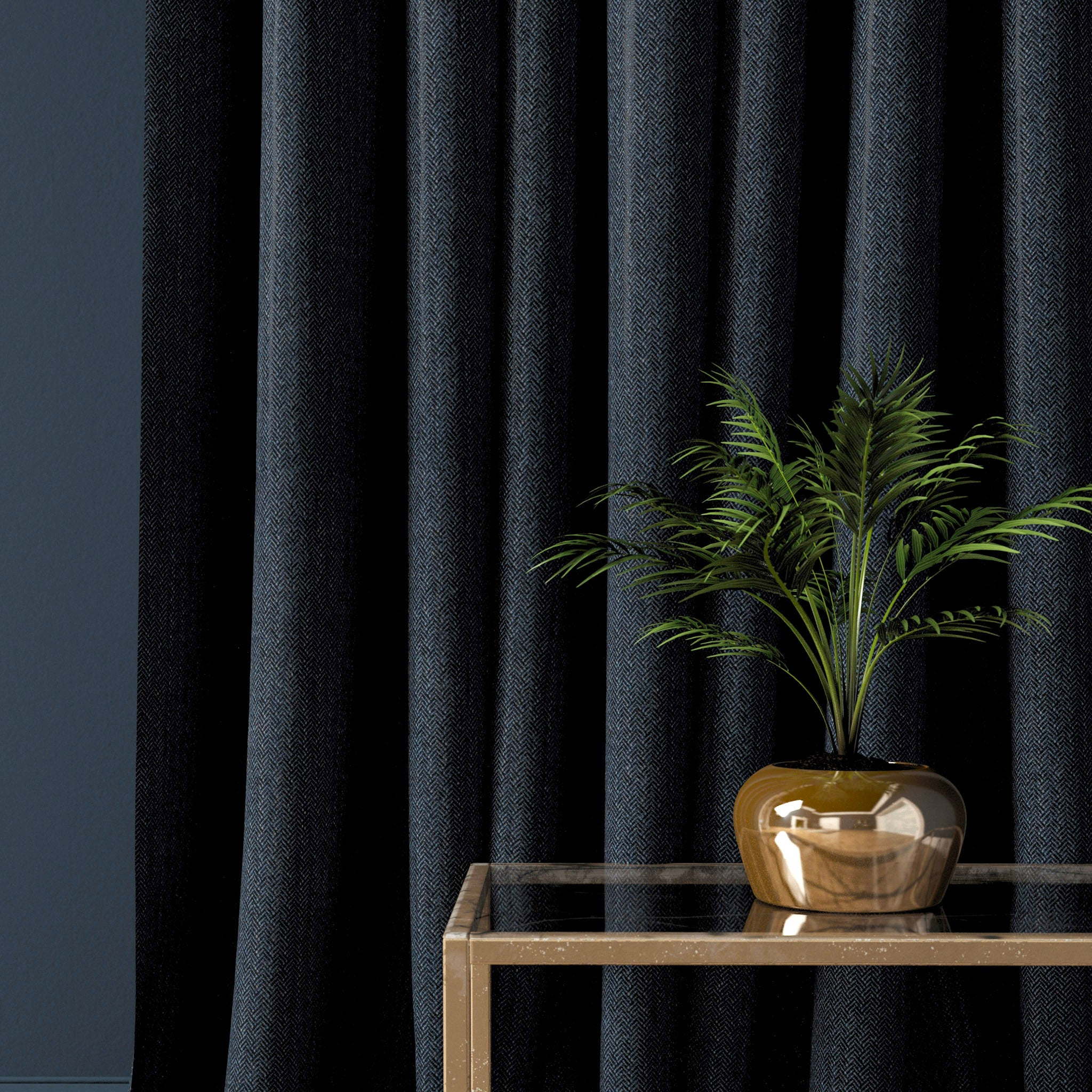 Curtain in a navy herringbone wool fabric
