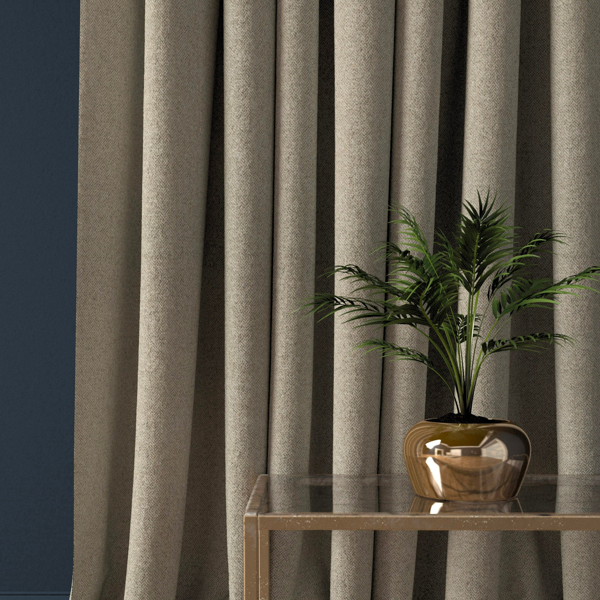 Curtain in a light neutral herringbone wool fabric