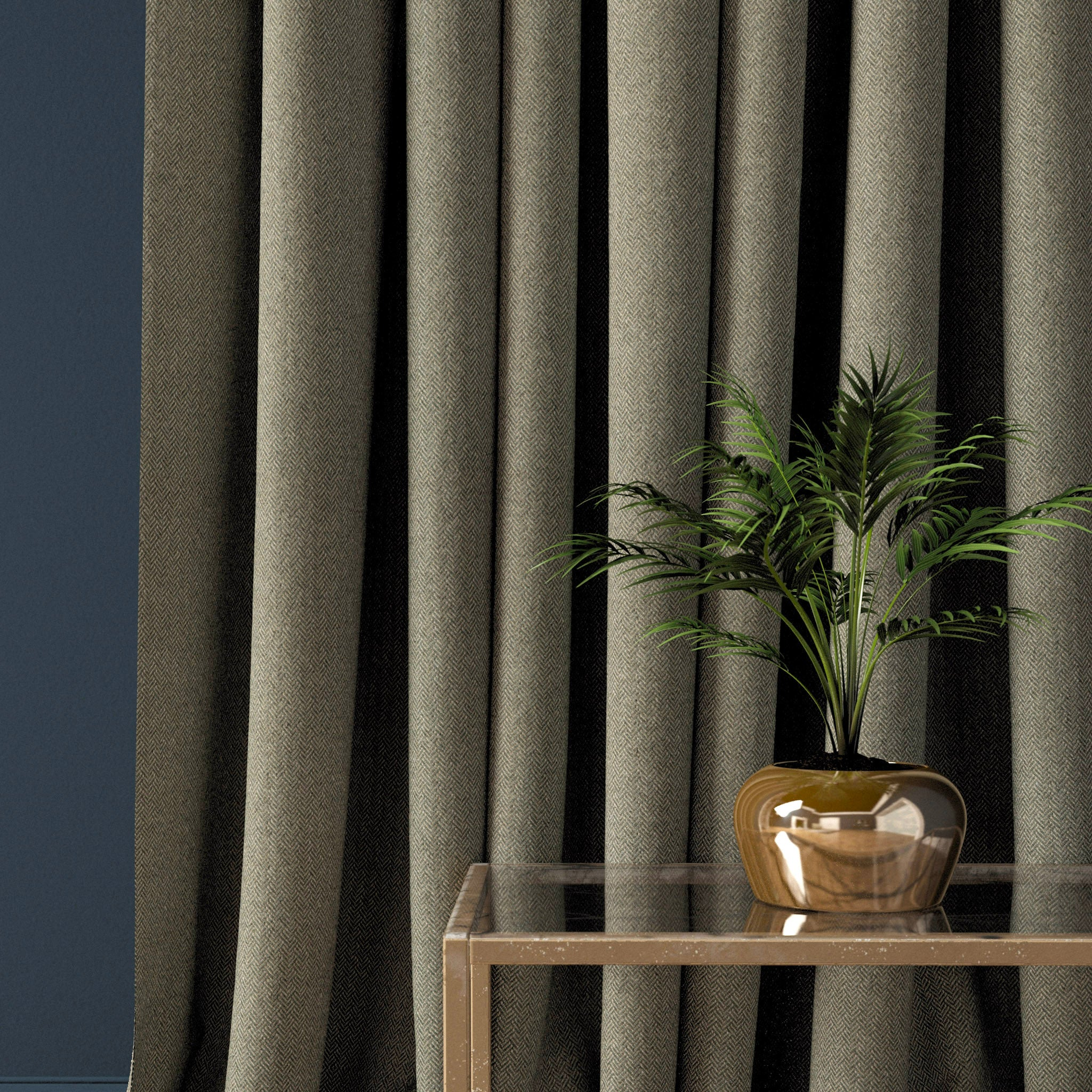 Curtain in a brown-grey herringbone wool fabric