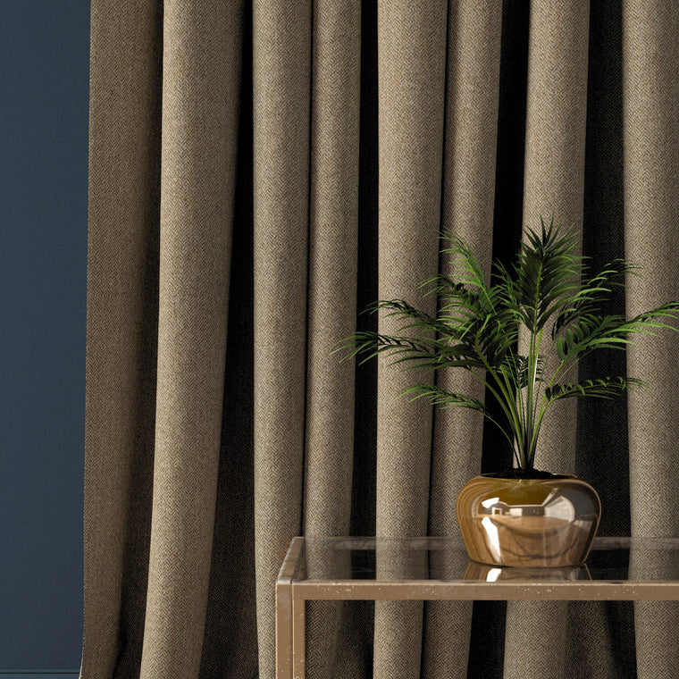 Curtain in a mid-brown herringbone wool fabric