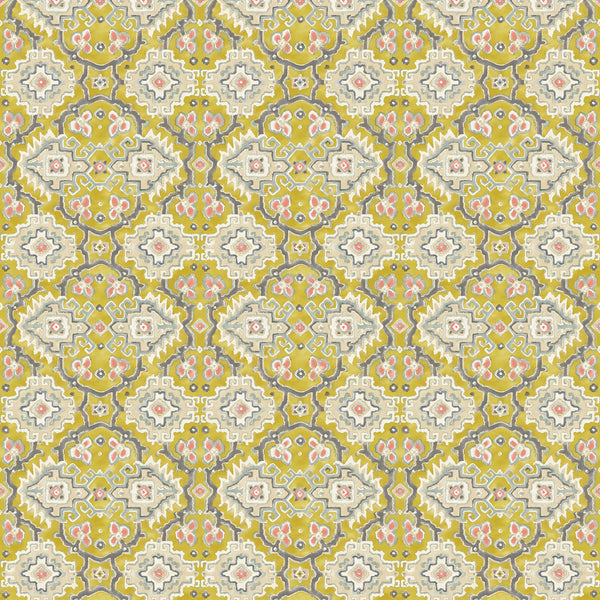 Printed velvet fabric with an oriental geometric design in yellow colours, for upholstery and curtain use