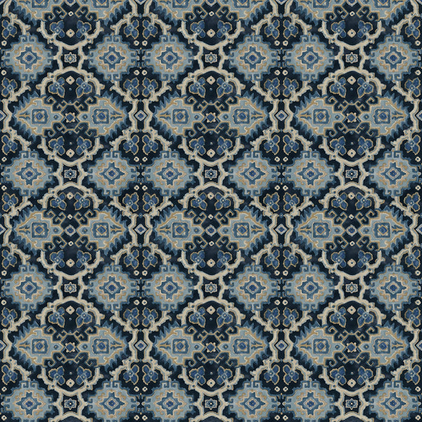 Printed velvet fabric with an oriental geometric design in blue colours, for upholstery and curtain use
