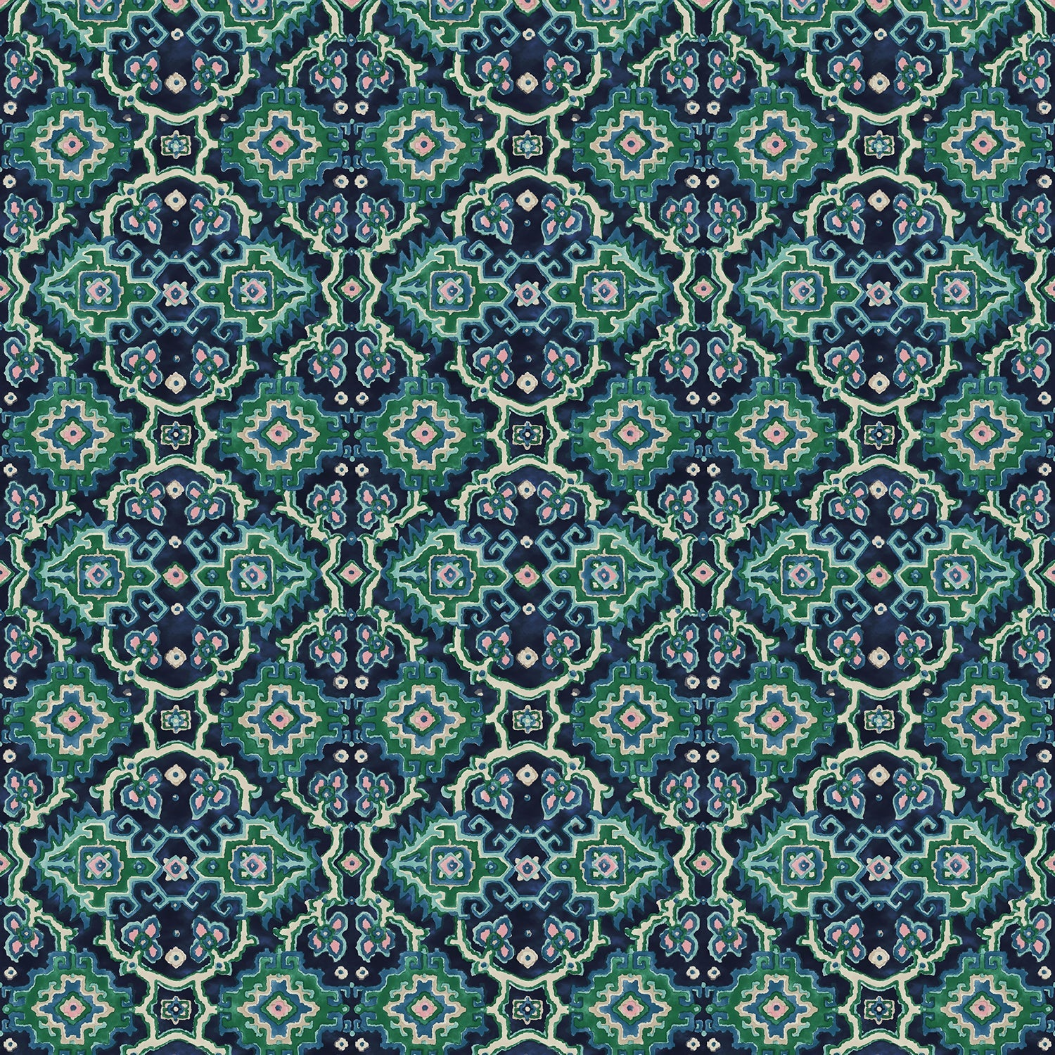 Printed velvet fabric with an oriental geometric design in blue and green colours, for upholstery and curtain use