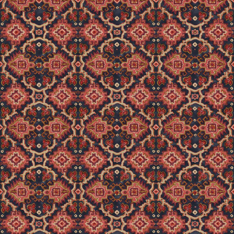 Printed velvet fabric with an oriental geometric design in red colours, for upholstery and curtain use