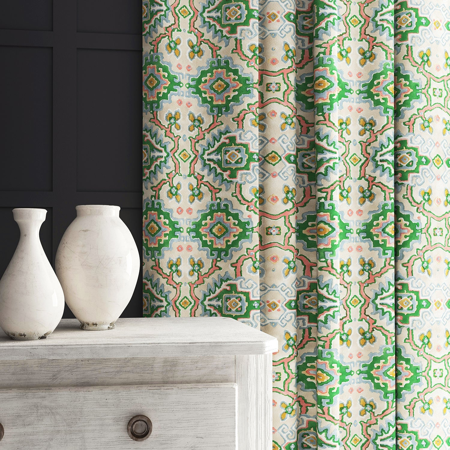 Velvet curtain in a printed velvet fabric with an oriental geometric design in multicolours
