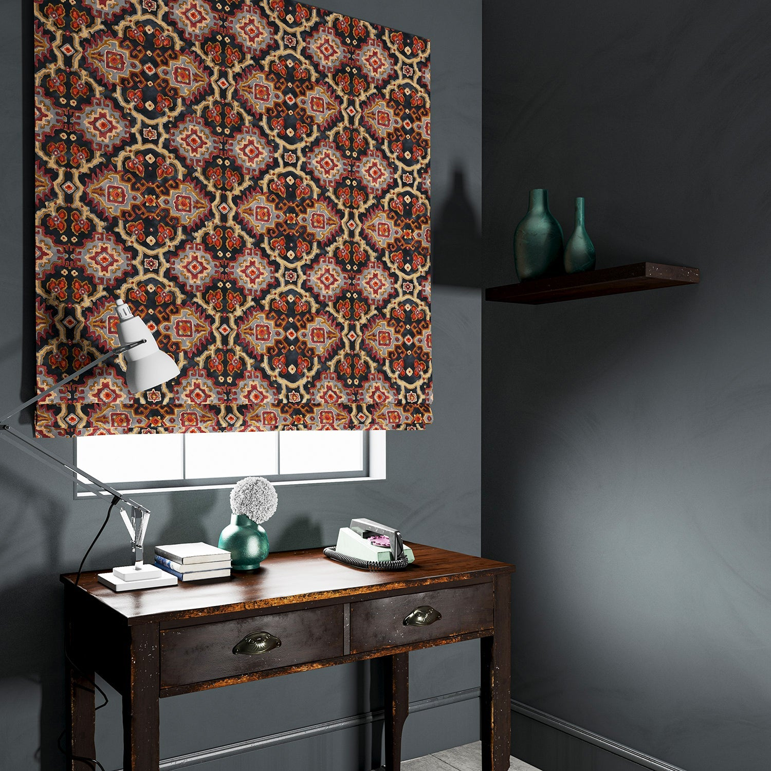 Velvet blind upholstered in a printed velvet fabric with an oriental geometric design in multicolours