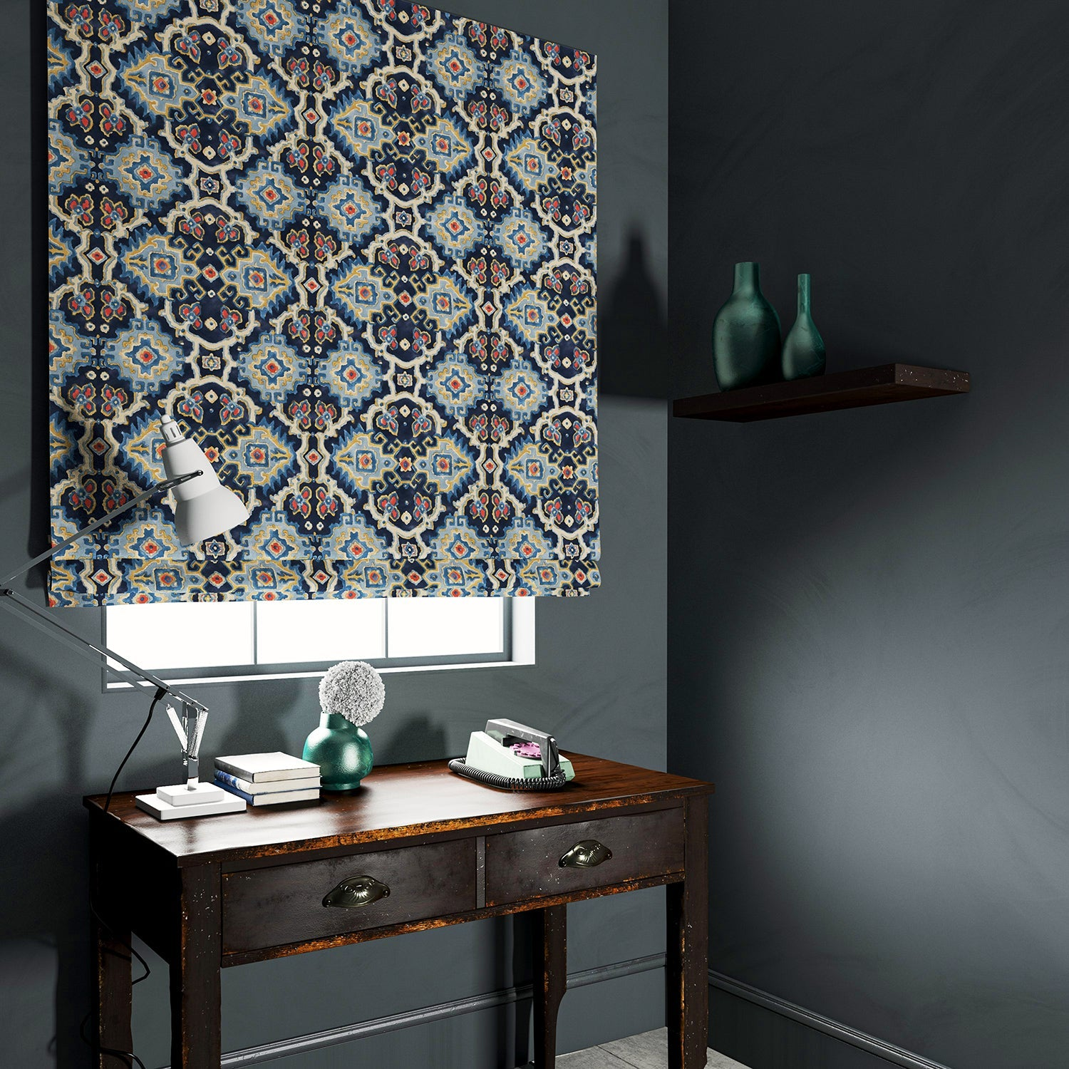 Velvet blind upholstered in a printed velvet fabric with an oriental geometric design in blue colours